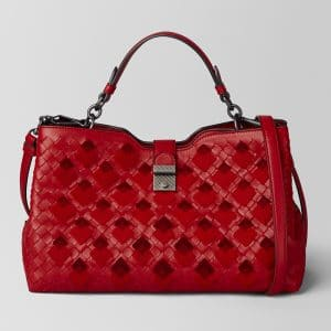 Bottega Veneta China Red Intrecciato Velvet Napoli Bag