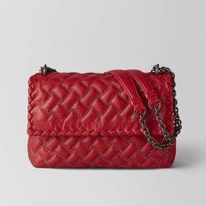 Bottega Veneta China Red Nappa Microstuds Olimpia Bag