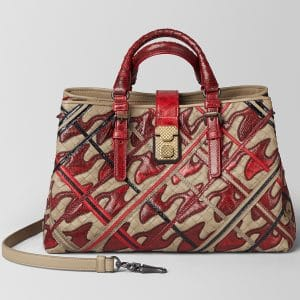 Bottega Veneta China Red Pied De Poule Intrecciato Roma Bag