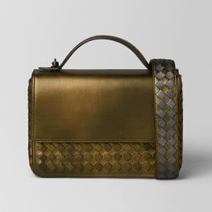 Bottega Veneta Dark Gold Intrecciato Nappa Alumna Bag