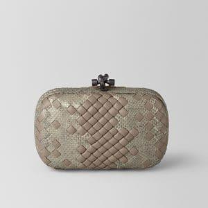 Bottega Veneta Limestone Intrecciato Imperatrice Chain Knot Bag