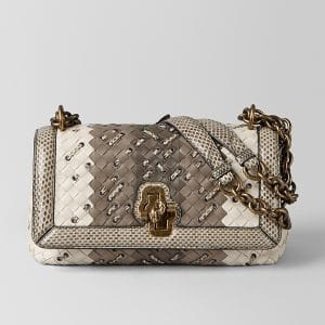 Bottega Veneta Mist Intrecciato Club Stitch Olimpia Knot Bag
