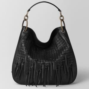 Bottega Veneta Nero Intrecciato Brio Large Loop Bag