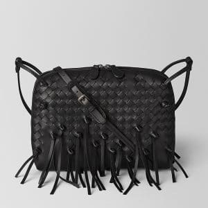 Bottega Veneta Nero Intrecciato Brio Messenger Bag