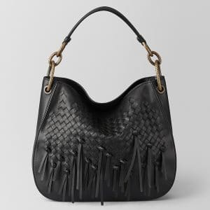 Bottega Veneta Nero Intrecciato Brio Small Loop Bag