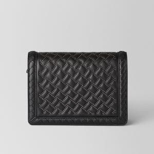 Bottega Veneta Nero Nappa Microstuds Mini Montebello Bag
