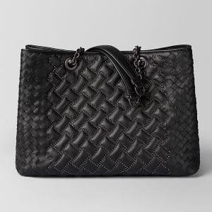 Bottega Veneta Nero Nappa Microstuds Tote Bag
