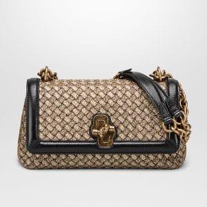 Bottega Veneta Oro Bruciato Anthracite Intrecciato Knit Olimpia Knot Bag