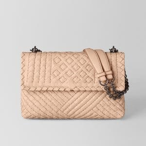 Bottega Veneta Peach Rose Intrecciato Calf Olimpia Bag