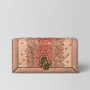 Bottega Veneta Peach Rose Intrecciato Club Stitch Knot Clutch Bag