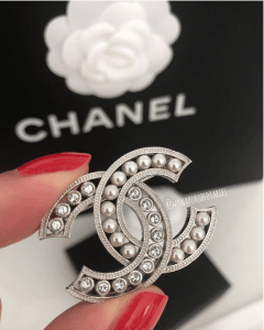 Chanel CC Crystal and Pearl Brooch