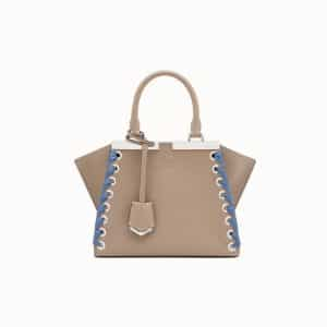 Fendi Beige Lace-Up Mini 3Jours Bag