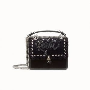 Fendi Black Crystal Embroidered Open Your Heart Kan I Small Bag