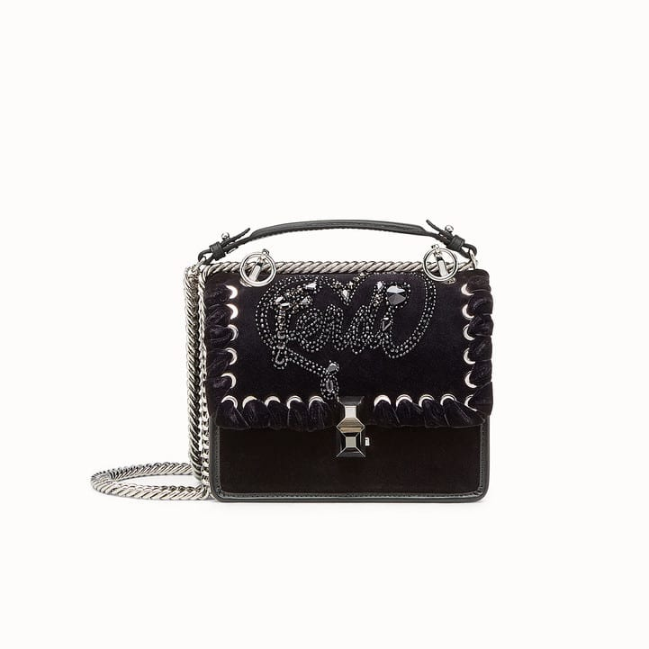 9d755eae2f67 Fendi Black Crystal Embroidered Open Your Heart Kan I Small Bag