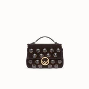 Fendi Black Embellished Velvet Double Micro Baguette Bag