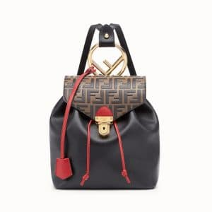Fendi Black FF Backpack Bag