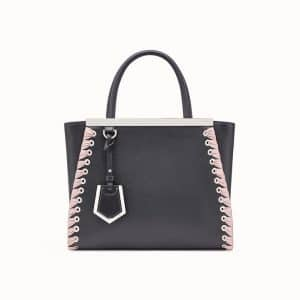 Fendi Black Lace-Up Petite 2Jours Bag