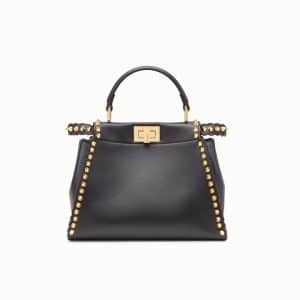 Fendi Black Studded Peekaboo Mini Bag