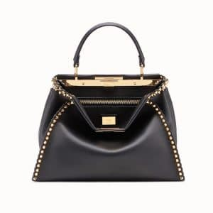 Fendi Black Studded Peekaboo Regular Bag