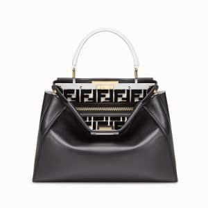 Fendi Black/White FF Peekaboo Regular Bag