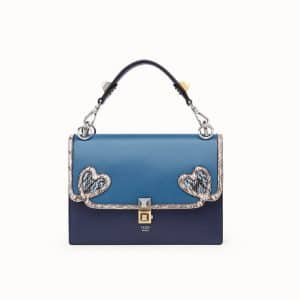 Fendi Blue Leather/Elaphe with Heart Appliqués Kan I Bag