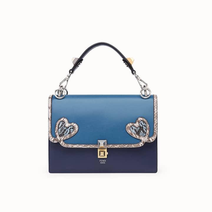 cbe923d59853 Fendi Blue Leather Elaphe with Heart Appliqués Kan I Bag