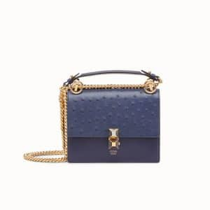 Fendi Blue Leather/Ostrich Kan I Small Bag