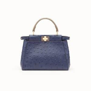 Fendi Blue Ostrich Peekaboo Mini Bag
