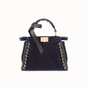 Fendi Blue Velvet Bow Peekaboo Mini Bag