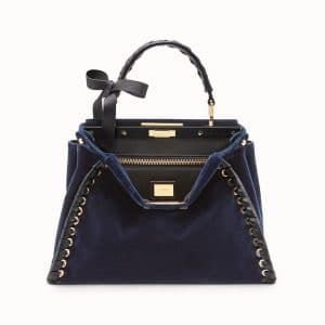 Fendi Blue Velvet Bow Peekaboo Regular Bag