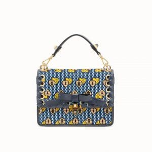 Fendi Blue/Yellow Open Your Heart Velvet Kan I Bag