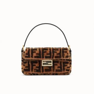 Fendi Brown FF Sheepskin Baguette Bag