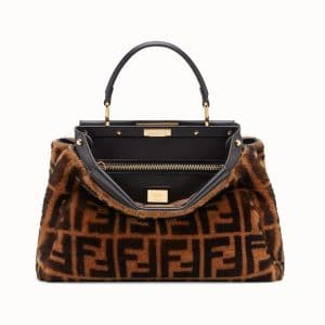 Fendi Brown FF Sheepskin Peekaboo Regular Bag