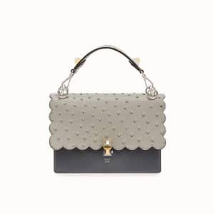 Fendi Gray Leather/Ostrich Scalloped Kan I Bag