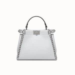 Fendi Gray Studded Peekaboo Mini Bag