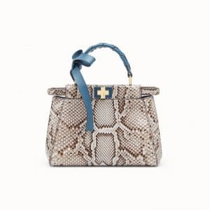 Fendi Gray/Pale Blue Python Peekaboo Mini Bag