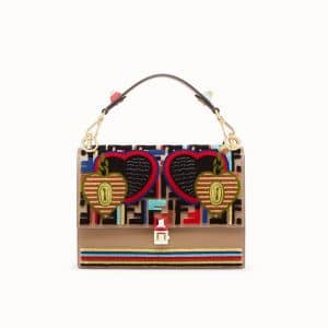 Fendi Multicolor Open Your Heart Leather:Fabric Kan I Bag