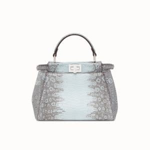 Fendi Pale Blue Lizard Peekaboo Mini Bag