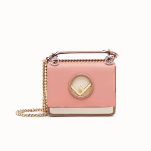 Fendi Pink Leather/Python Kan I Logo Mini Bag