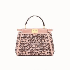 Fendi Pink Open Your Heart Python Peekaboo Mini Bag