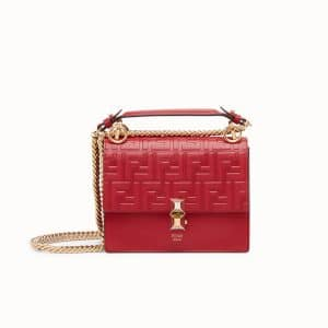 Fendi Red FF Embossed Kan I Small Bag