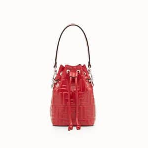 Fendi Red FF Embossed Mon Tresor Bucket Bag
