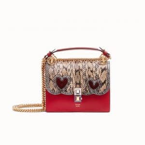 Fendi Red Leather/Elaphe with Heart Appliqués Kan I Small Bag