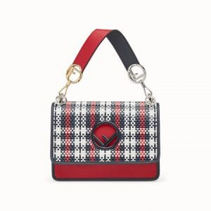 Fendi Red Tartan Kan I Logo Bag