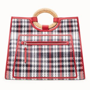 Fendi Red Tartan Runaway Shopper Bag