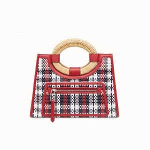 Fendi Red Tartan Runaway Small Shopper Bag