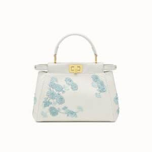 Fendi White Embroidered Python Peekaboo Mini Bag
