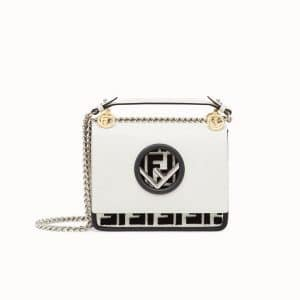 Fendi White FF Kan I Mini Bag