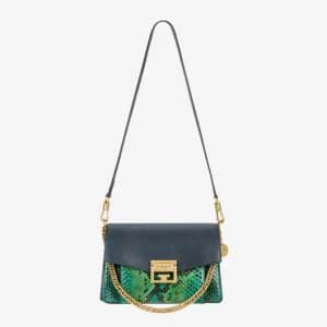 Givenchy Black/Green Leather/Python GV3 Small Flap Bag