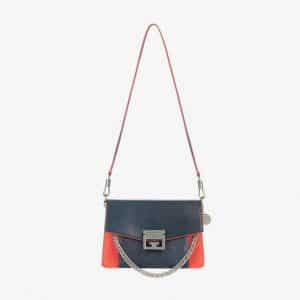 Givenchy Blue/Red Leather/Suede GV3 Small Flap Bag